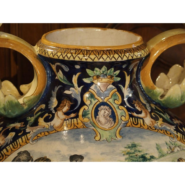 A Large Painted Italian Majolica Urn Circa 1885 For Sale - Image 9 of 12