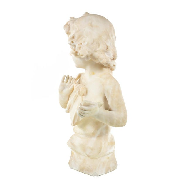 19th Century Antique Alabaster Sculpture of a Young Painter - Image 6 of 9