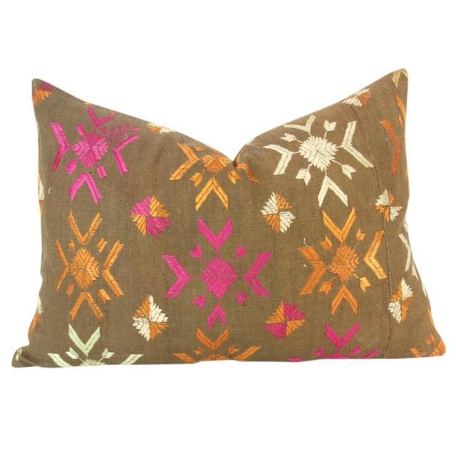 Vintage Lumbar Bagh Phulkari Pillow - Image 1 of 4