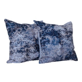 Asian Blue Distressed Print Pillow Covers - A Pair For Sale
