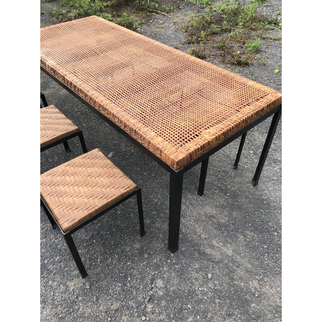 Black Danny Ho Fong Iron and Reed Dining Table With Six Stools for Tropi-Cal For Sale - Image 8 of 13