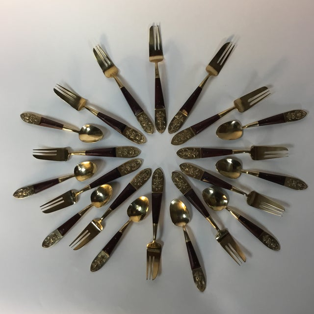 Mid-Century Brass & Rosewood Fish Forks and Spoons - 20 Pieces For Sale - Image 10 of 11
