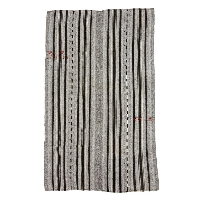 1960s Vintage Gray & Black Striped Kilim Rug- 5′9″ × 9′4″ For Sale