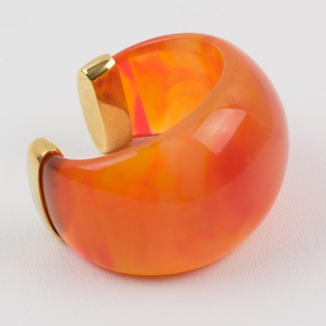 Contemporary Yves Saint Laurent Ysl Massive Orange Resin Cuff Bracelet For Sale - Image 3 of 10