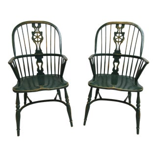 Pair of Custom English Country Saddle Seat Windsor Back Dining Room Armchairs A For Sale