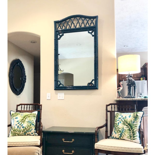 Thomasville Faux Bamboo High Gloss Sapphire Blue Mirror For Sale - Image 9 of 10