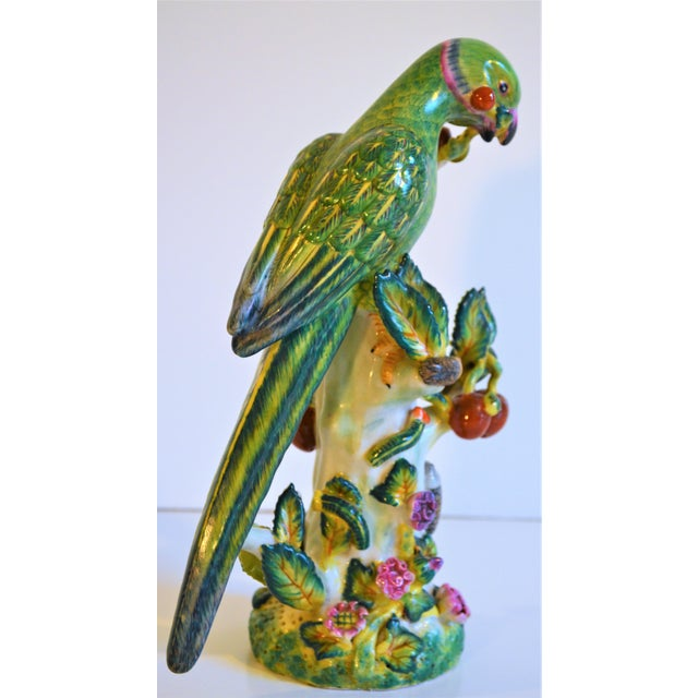 (Final Markdown Taken) Vintage Green Majolica Parrot Figurine For Sale - Image 4 of 9