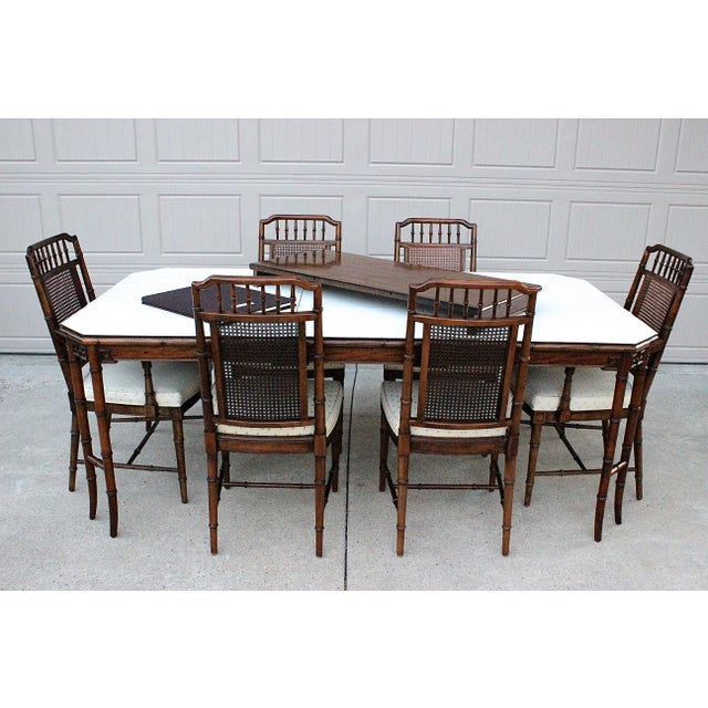 Faux Bamboo Century Furniture Faux Bamboo Dining Set For Sale - Image 7 of 13