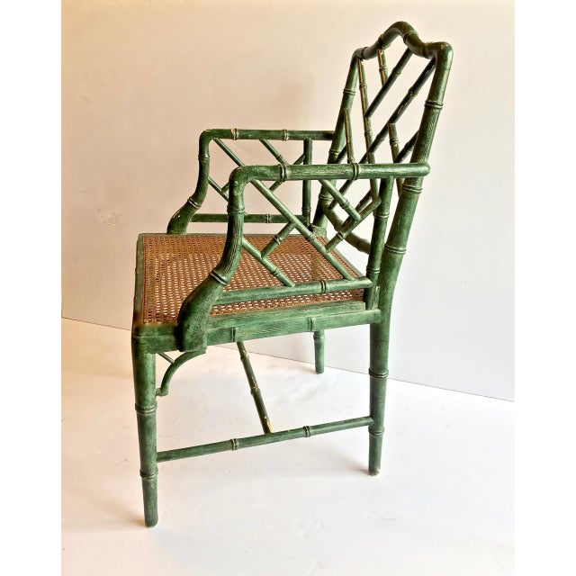This is a superb set of 6 midcentury Chinese Chippendale style faux bamboo armchairs in a wonderful patinated deep green....