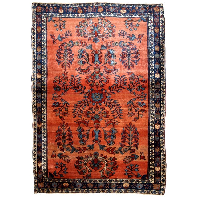 1900s Handmade Antique Persian Sarouk Rug For Sale