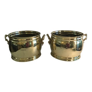 Early 20th Century Vintage Brass Planters - A Pair For Sale