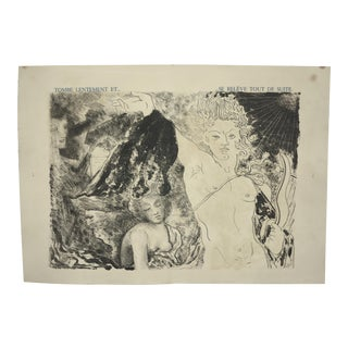 """Tombe Lentement Et..."", Original Lithograph From the Illustrated Play, ""Orphee"", by Jean Cocteau, Circa 1944 For Sale"
