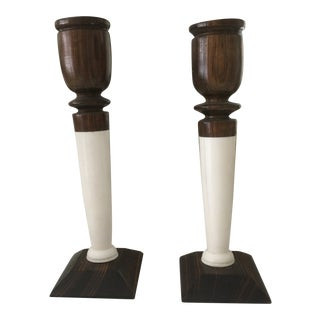 1950s Ebony Wood and Ivory Candlesticks Holders - a Pair For Sale