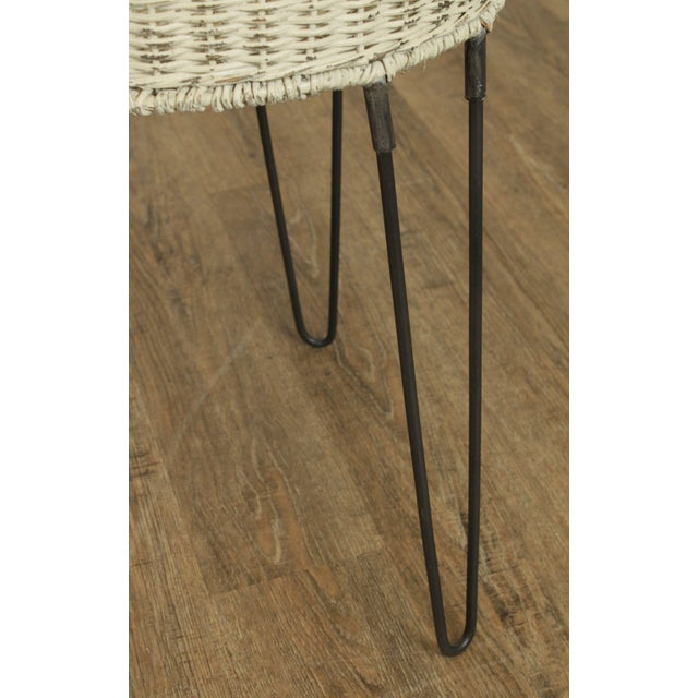 Round Wicker Planter Table With Hairpin Legs For Sale - Image 10 of 12