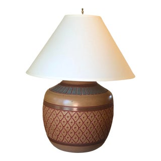 "Ceramic ""Southwest Pottery"" Lamp With Shade For Sale"