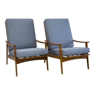 Mid Century Teak Lounge Chairs; Fully Refinished and Restored - a Pair