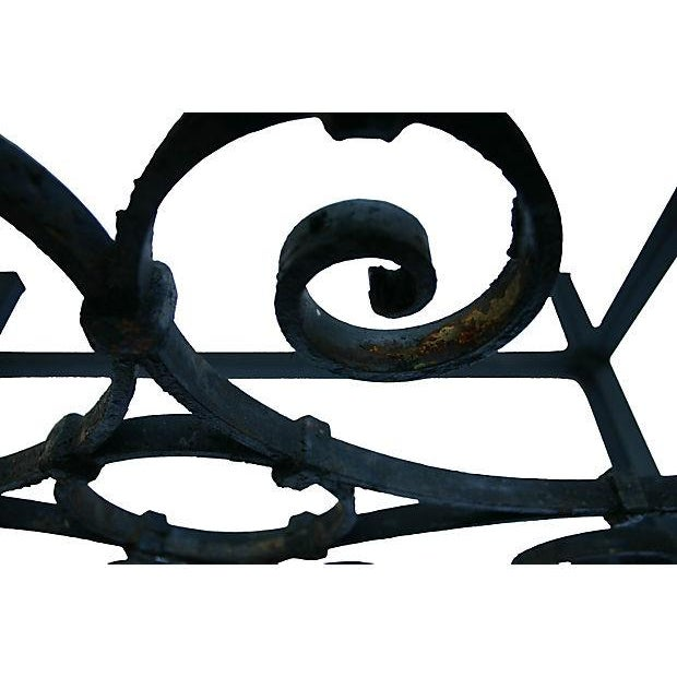 French Country Coffee Table With Antique Iron Scroll Work For Sale - Image 3 of 6