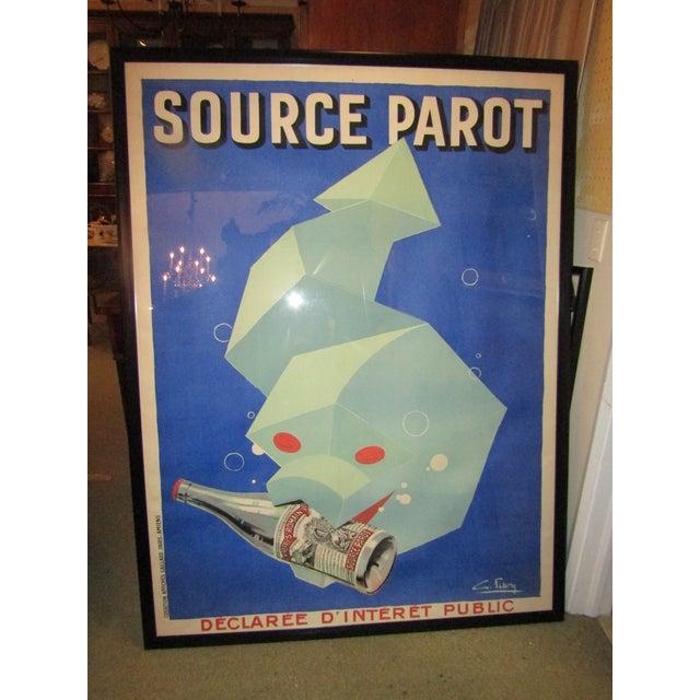 "1930s 1930 Original Large French Poster Framed ""Source Parot"" For Sale - Image 5 of 5"