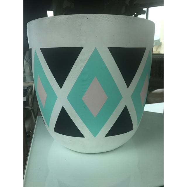 Turqoise & Black Diamond Patterned Planter For Sale - Image 5 of 6