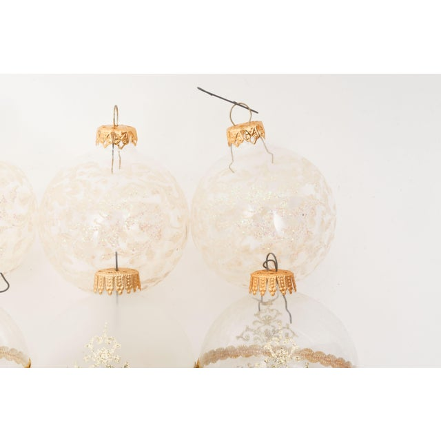 1960s Mid-Century White Christmas Ornaments w/Box - Set of 6 For Sale In Los Angeles - Image 6 of 8