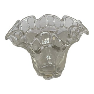 Vintage Clear Art Glass Bowl With Wavy Open Lace Lattice Rim Pattern For Sale