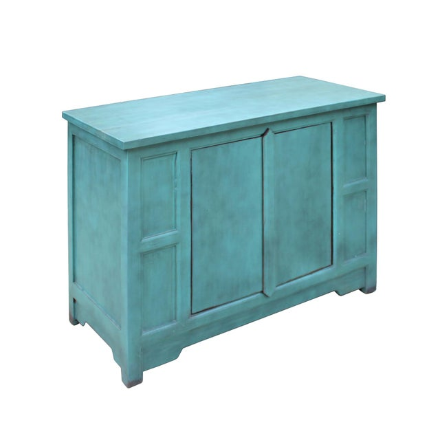 Simple Shabby Chic Rustic Light Blue Low Credenza Cabinet For Sale - Image 4 of 8