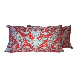 Fortuny Carravaggio Blue & Red Lumbar Pillows - A Pair For Sale