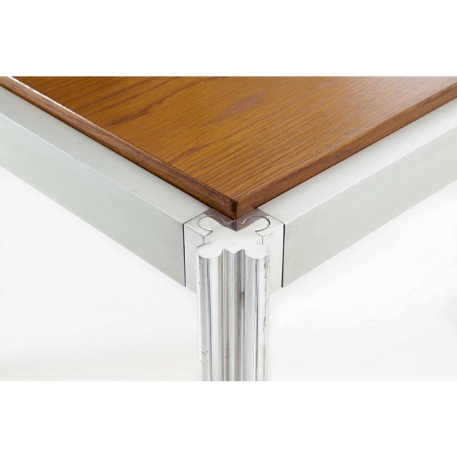 Rare Circa 1960s Jens Risom Oak and Aluminum Dining Table with Shamrock Legs For Sale - Image 6 of 13