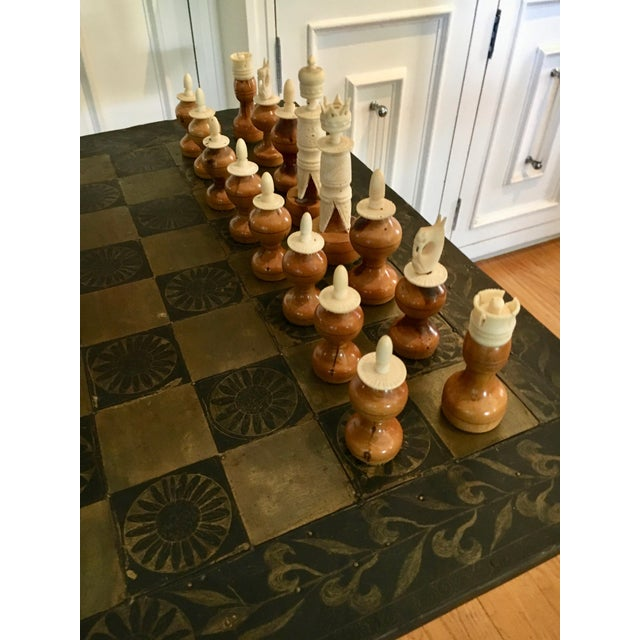 Mid-Century Modern Metal Mexaican Chess Board Table With Hand-Carved Wooden Chess Men For Sale - Image 3 of 8