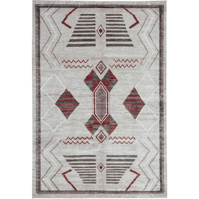 Contemporary Hand Woven Wool Rug - 6'3 X 9'2 For Sale