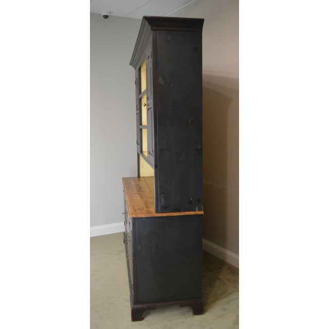 Rustic Monumental Custom Crafted Reproduction Country Painted Pine Step Back Hutch For Sale - Image 3 of 13