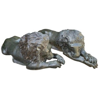 Pair of Reclining Bronze Garden Lions For Sale