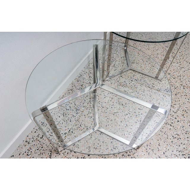 Glass and Steel Round End Tables - a Pair For Sale In West Palm - Image 6 of 7