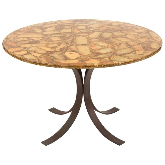 1960s Agate and Bronze Dining Table For Sale - Image 5 of 5