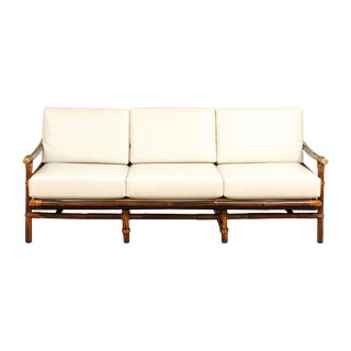 Rare Restored Campaign Sofa by John Wisner for Ficks Reed, Circa 1954 For Sale