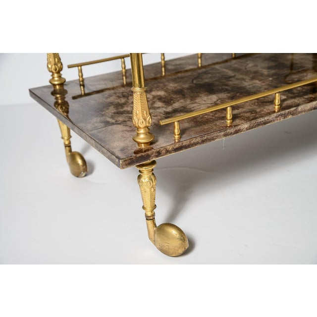 Italian Aldo Tura Chocolate Color Lacquered Goatskin Bar Cart, C.1960-1970 For Sale In West Palm - Image 6 of 13