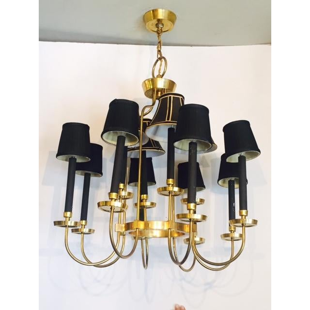 Mid-Century Italian Black & Brass Chandelier - Image 4 of 6