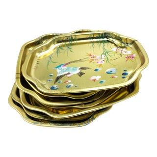 Vintage Chinoiserie English Gold Painted Metal Elite Trays - Set of 7 For Sale