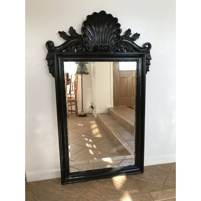 Coastal Regency Ornate Scalloped Shell Black Lacquered Mirror For Sale - Image 13 of 13