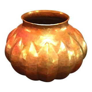 Smaller Hand Crafted Solid Copper Vase in Geometric Gourd Shape For Sale