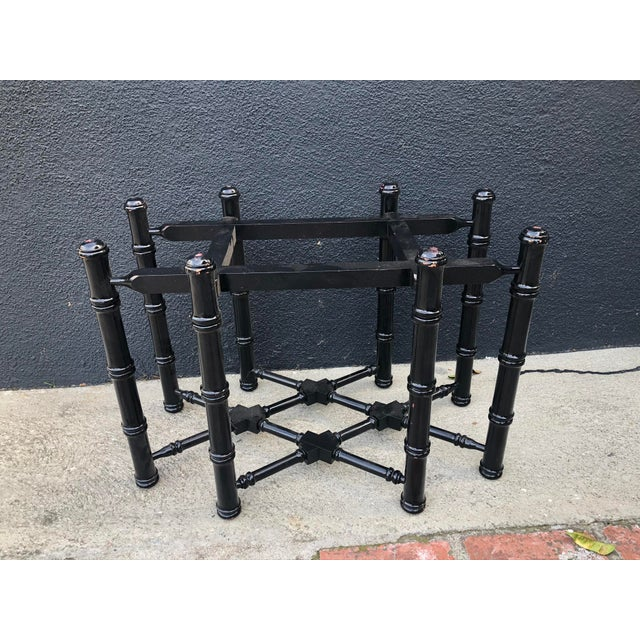 Mid 20th Century Vintage Brass Turkish Tray Table With Black Faux Bamboo Base For Sale - Image 5 of 7