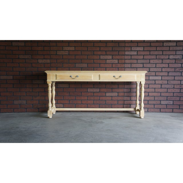 Tan 20th Century Cottage Farmhouse Console Table For Sale - Image 8 of 9