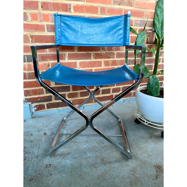 Blue Vintage Blue and Chrome Milo Baughman Director's Chair For Sale - Image 8 of 11
