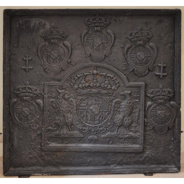 18th C. Large Fireback - Coat of Arms Lorraine from 1704 For Sale - Image 11 of 11
