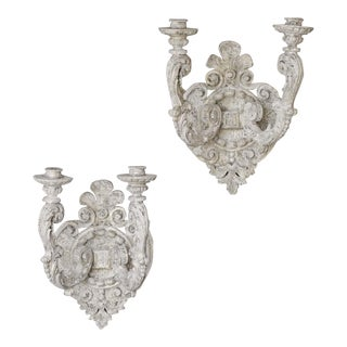 Pair of Vintage French Régence Style Two Arm Painted Sconces circa 1950
