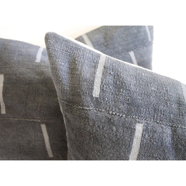 French Country Vintage Mud Cloth Standard Sham Pillows in Gray Blue - a Pair For Sale - Image 3 of 7