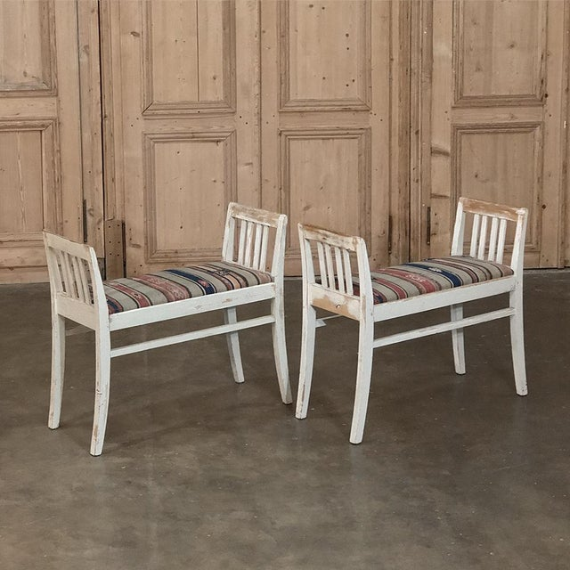 Pair 19th Century Antique Swedish Painted StoolsÊare ideal for the elegant neoclassical look, with scraped white painted...