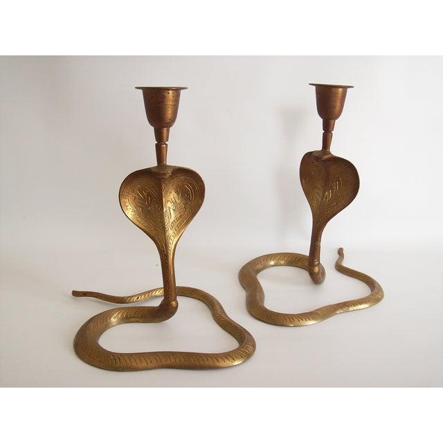 Vintage Brass Cobra Snake Candlesticks - A Pair - Image 8 of 9