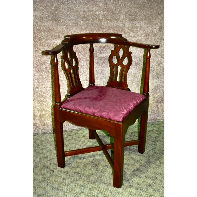 Vintage Chippendale Hickory Chair Solid Mahogany Style Corner Chair For Sale - Image 13 of 13