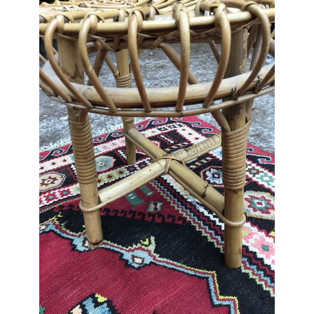1960s Mid Century Rattan Ottoman Foot Stool Style of Franco Albini For Sale - Image 5 of 6